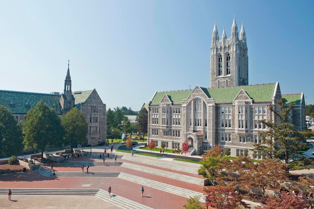 O'Neill Plaza and the newly renovated Gasson Hall